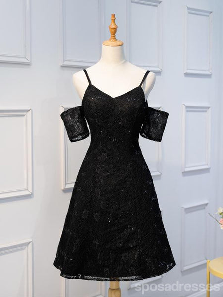 Off Shoulder Black Lace Cheap Short Homecoming Dresses Online, CM664