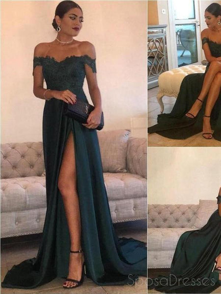 fd221988236d Dark Green Off Shoulder Sexy Side Slit Fashion Long Evening Prom Dress –  SposaDresses