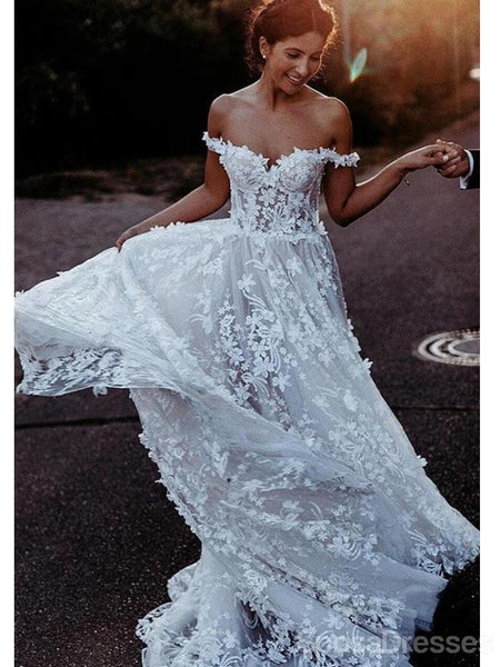 Off Shoulder Lace A-line Wedding Dresses Online, Cheap Unique Bridal Dresses, WD597