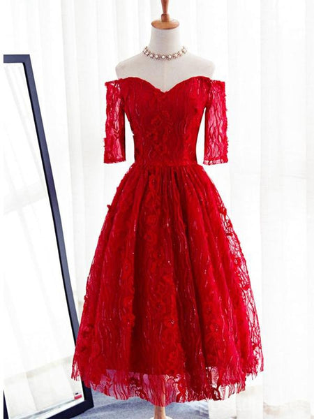 Long Sleeve Red Lace Beaded Homecoming Prom Dresses Affordable