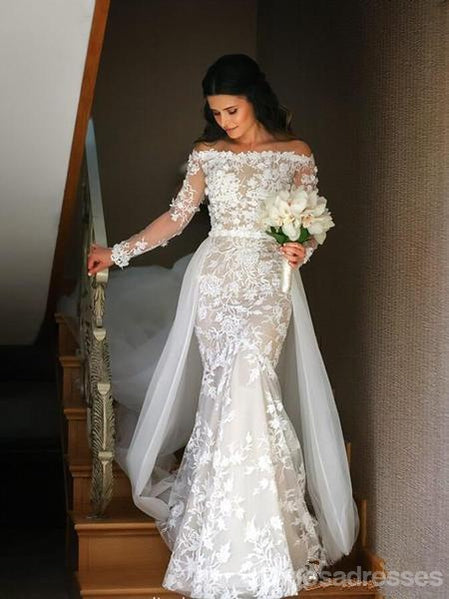 Long Sleeves Lace Mermaid Cheap Wedding Dresses