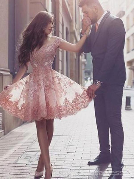 Off Shoulder Peach Lace Tulle Homecoming Prom Dresses, Cheap Homecoming Dresses, CM351