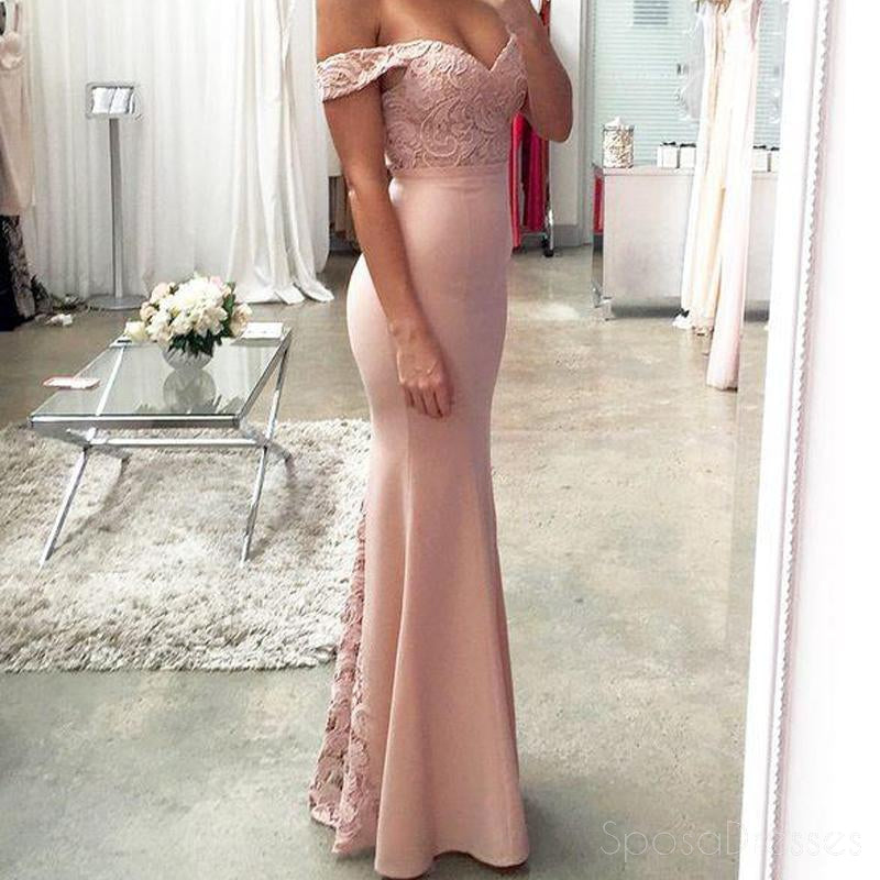 Off Shoulder Blush Pink Mermaid Evening Prom Dresses, Long Lace ...