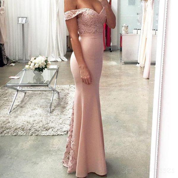 Off Shoulder Blush Pink Mermaid Evening Prom Dresses, Long Lace Party Prom Dresses, 17061