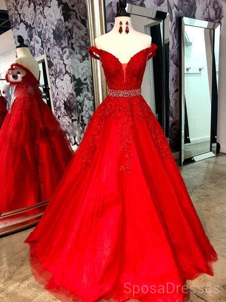 Off Shoulder Red Lace Beaded Evening Prom Dresses, Cheap Custom Sweet 16 Dresses, 18485