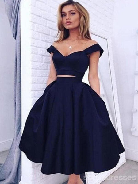 Two Pieces Off Shoulder Navy Blue Homecoming Prom Dresses, Cheap Homecoming Dresses, CM358
