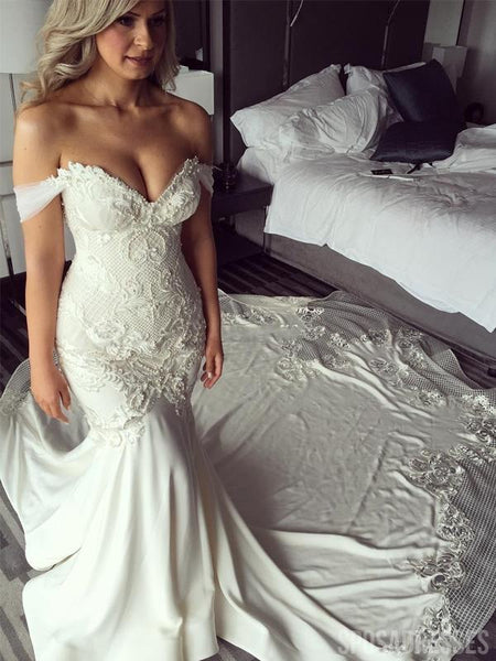 Off Shoulder Lace Mermaid Wedding Dresses, Lace Wedding Gown, WD696