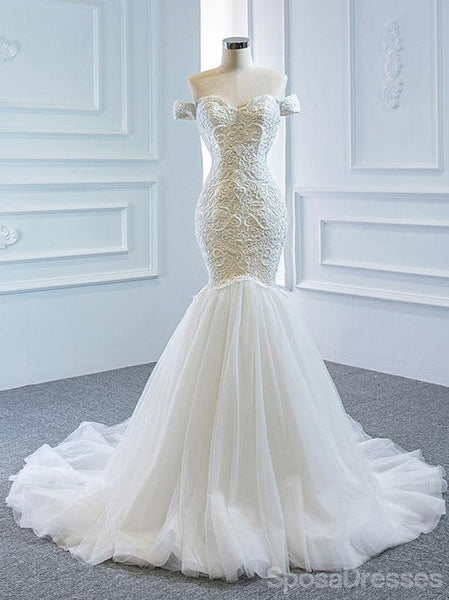 Off Shoulder Lace Mermaid Wedding Dresses, Cheap Wedding Gown, WD717