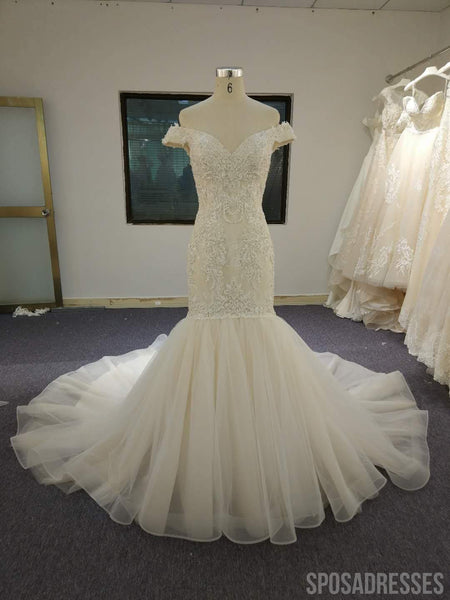 Off The Shoulder Embroidery Mermaid Wedding Dresses, Cheap Wedding Gown, WD680