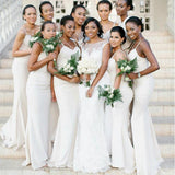 Spaghetti Straps Off White Mermaid Long Bridesmaid Dresses Online, Cheap Bridesmaids Dresses, WG707