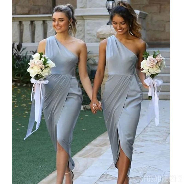 One Shoulder Grey Short Bridesmaid Dresses, Cheap Bridesmaids Dresses, WG739