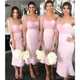 One Shoulder Pink Mermaid Short Cheap Bridesmaid Dresses Online, WG654