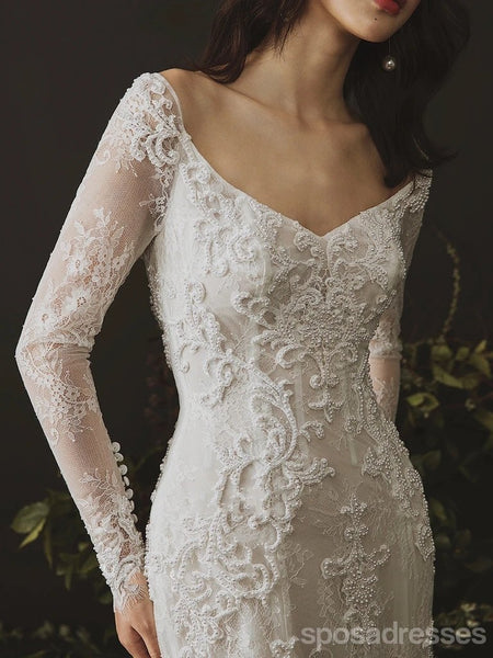 Open Back Long Sleeves Lace Mermaid Wedding Dresses Online, Cheap Bridal Dresses, WD631