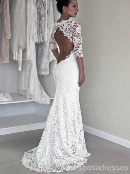 Long Sleeve Lace Open Back Mermaid Wedding Dresses Long Custom Wedding Gowns 17117
