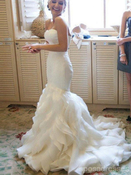 a4e60cb9b593 Organza Mermaid Wedding Dresses, 2017 Long Custom Wedding Gowns, Affordable Bridal  Dresses, 17110