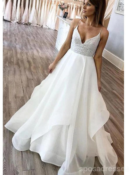 Sexy Spaghetti Straps Backless A-line Cheap Wedding Dresses Online, Cheap Bridal Dresses, WD618