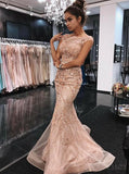Peach Cap Sleeves Mermaid Rhinestone Long Evening Prom Dresses, Sparkly Sweet 16 Dresses, 18333