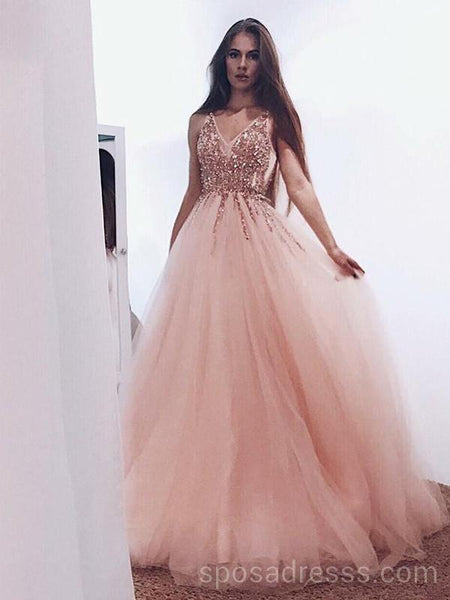 Peach and Gold Prom Dresses