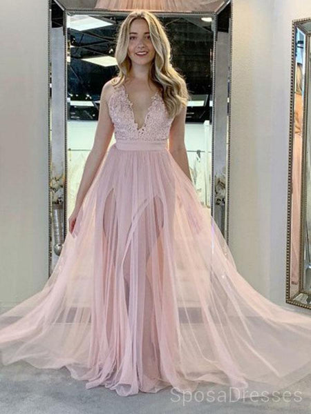Pale Pink V Neck Side Slit Tulle Long Evening Prom Dresses, Cheap Custom Sweet 16 Dresses, 18479
