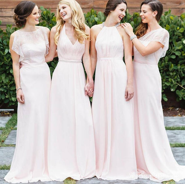 Mismatched Chiffon Long Cheap Bridesmaid Dresses Online, WG159