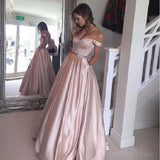 Emerald Green Off The Shoulder Custom Long Evening Prom Dresses, 17387
