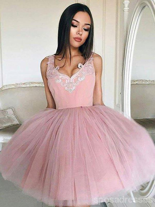 Cheap V Neck Tulle Cute Pink Homecoming Dresses 2018, CM439