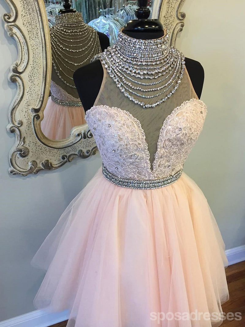 Scoop Neckline Ivory Lace Beaded Homecoming Prom Dresses, Affordable Short Party Prom Dresses, Perfect Homecoming Dresses, CM295