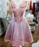 See Through Pink Lace Short Homecoming Dresses Online, CM676