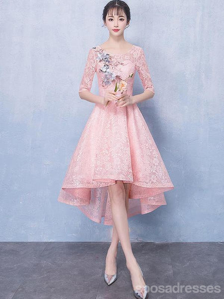 66ff94e7628 Long Sleeves Pink Lace High Low Cheap Homecoming Dresses Online ...