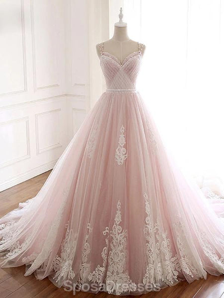 Pale Pink Lace Beaded A-line Long Evening Prom Dresses, Evening Party Prom Dresses, 12209