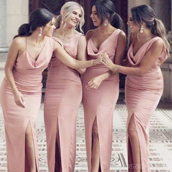Sexy Pink Mermaid Side Slit Long Bridesmaid Dresses Online, WG301