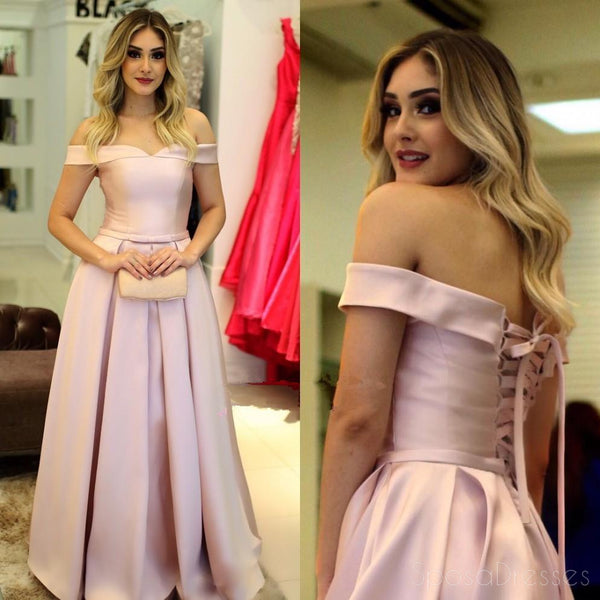 Simple Light Pink Off Shoulder A line Long Evening Prom Dresses, 17511