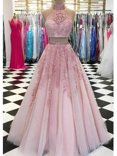 Sexy Halter Two Pieces Pink Lace Long Evening Prom Dresses, Cheap Custom Sweet 16 Dresses, 18538