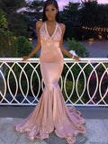 Mermaid Halter Pink Applique Long Prom Dresses, Sweet 16 Prom Dresses, 12518