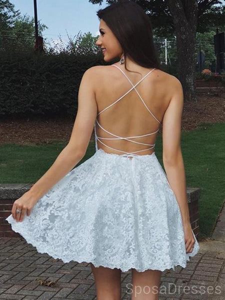 Spaghetti Straps Off White Lace Short Homecoming Dresses Online, Cheap Short Prom Dresses, CM843