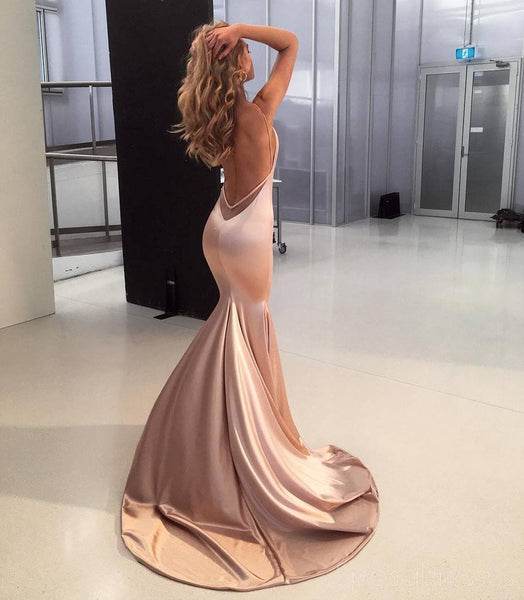 Sexy Backless Rose Gold Mermaid Long Evening Prom Dresses, Cheap Custom Party Prom Dresses, 18571