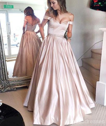 Simple Off Shoulder Satin Evening Prom Dresses Popular A Line Party
