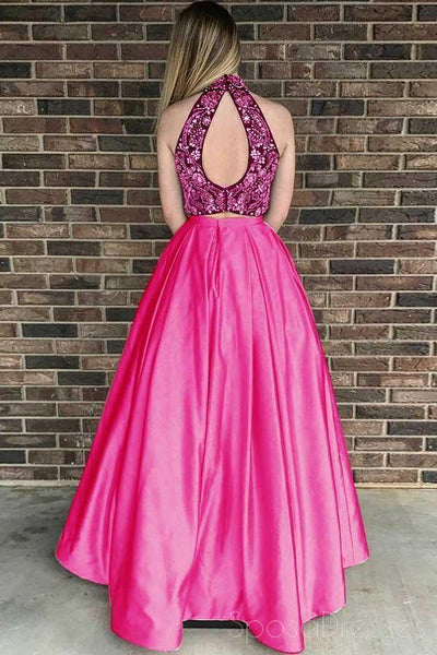Sexy Two Pieces Open Back Halter Beaded A-line Long Evening Prom Dresses, 17687