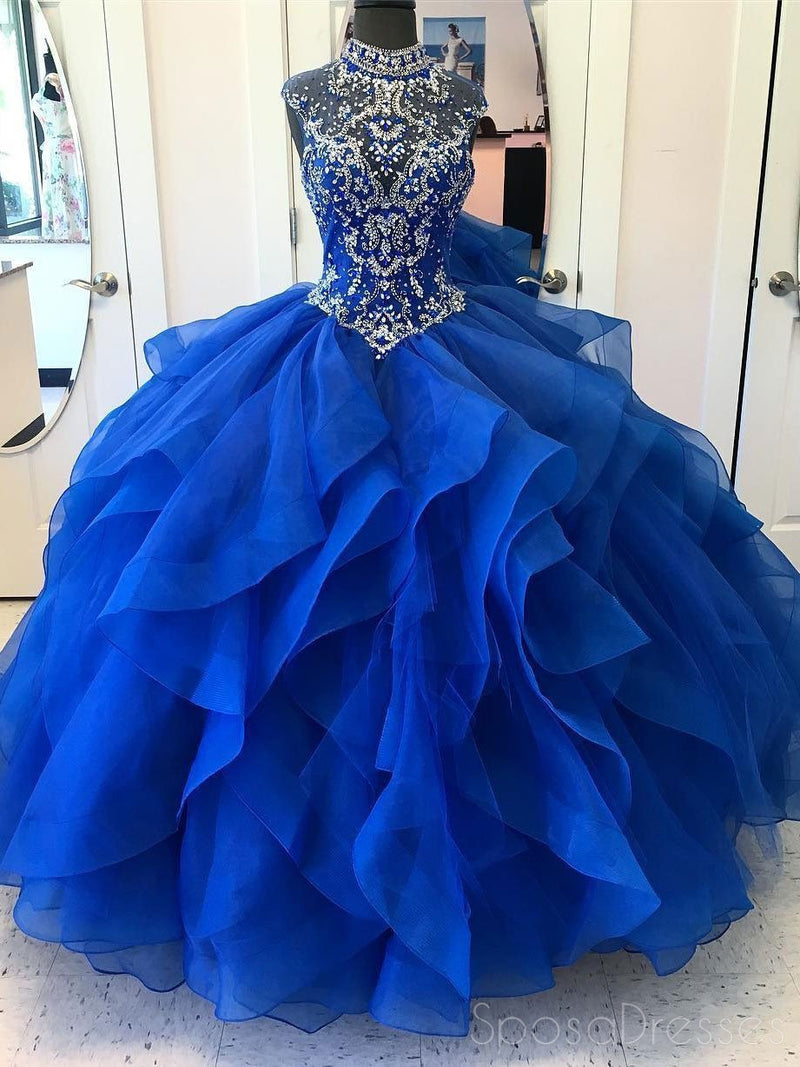 Royal Blue Ball Gown High Neck Rhinestone Beaded Long Evening Prom ...