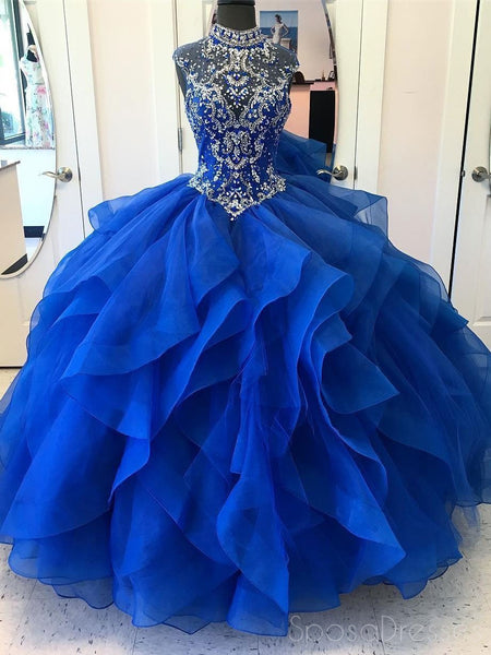51806c45a527 Royal Blue Ball Gown High Neck Rhinestone Beaded Long Evening Prom Dre –  SposaDresses
