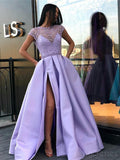 Jewel Illusion Lilac Short Sleeves Side Slit Evening Prom Dresses, Cheap Sweet 16 Dresses, 18311