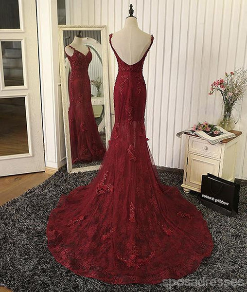 Sexy Backless Red Lace Mermaid Long Evening Prom Dresses, 17660