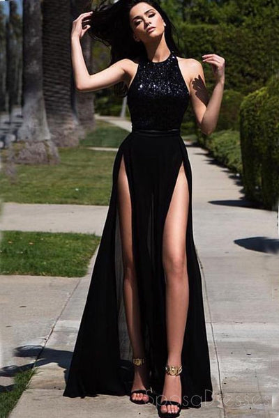Hater Sexy Side Slit Black Custom Long Evening Prom Dresses, 17715