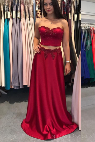 Sexy Two Pieces Strapless Red Long Evening Prom Dresses, 17710