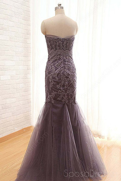 Strapless 2018 Grey Lace Mermaid Long Evening Prom Dresses, 17662