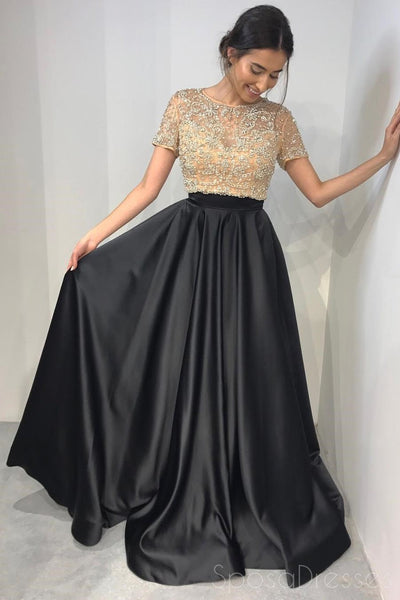 Short Sleeve Gold Beaded A line Black Long Evening Prom Dresses, 17653
