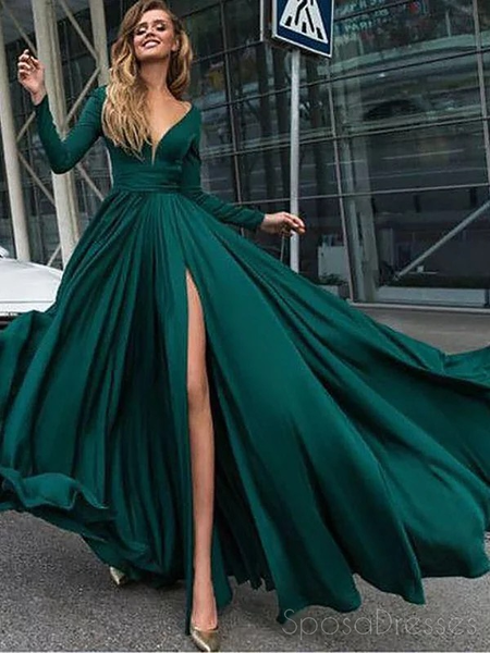 Long Sleeves Emerald Green Evening Prom Dresses, Cheap Sweet 16 Dresses, 18305