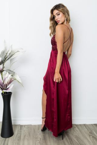 Sexy Backless Red Sequin Side Slit Long Evening Prom Dresses, 17661