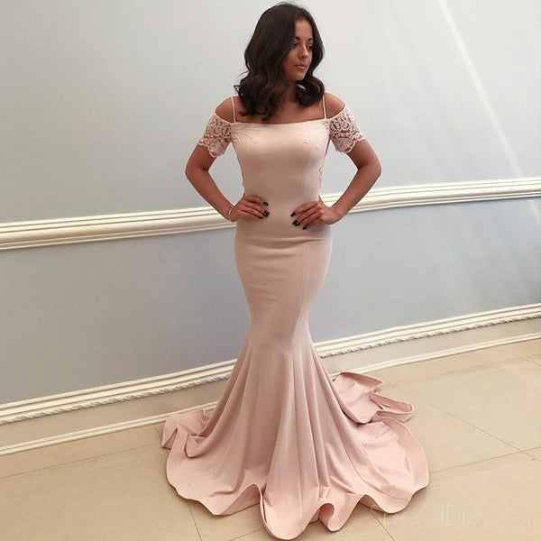 Champagne Off Shoulder Mermaid Long Evening Prom Dresses, Cheap Sweet 16 Dresses, 18319