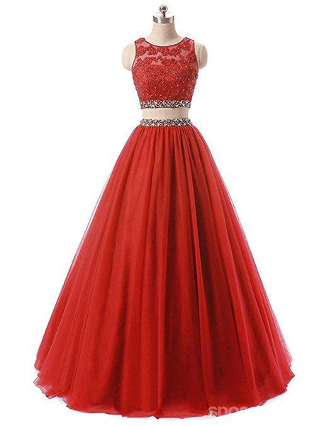 Red Two Pieces Rhinestone Tulle A-line Long Evening Prom Dresses, 17668